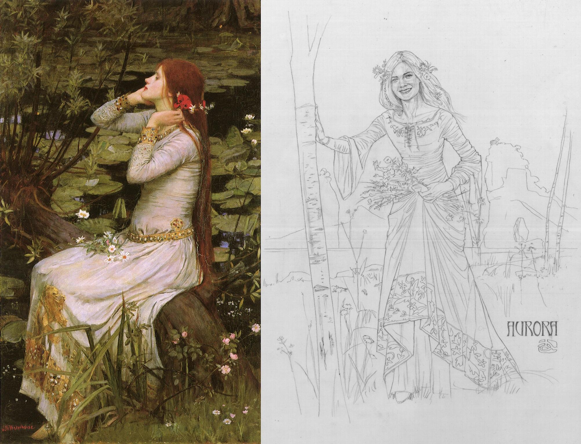 À esquerda: Ophelia (1894), de John William Waterhouse; à direita: croqui de traje de Aurora.