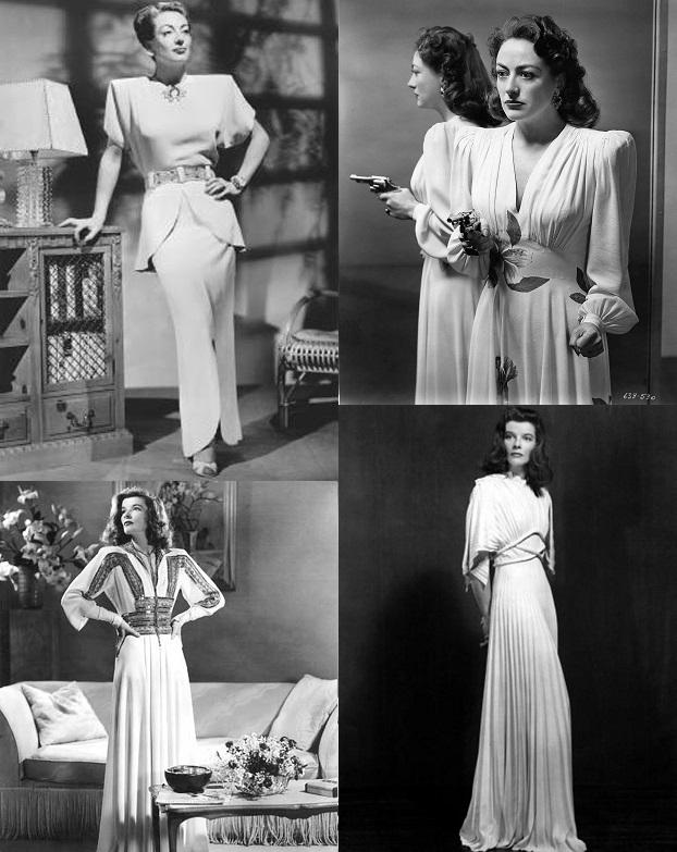 Acima Joan Crowford e abaixo Katherine Hepburn em trajes com ênfase nos ombros criados por Adrian