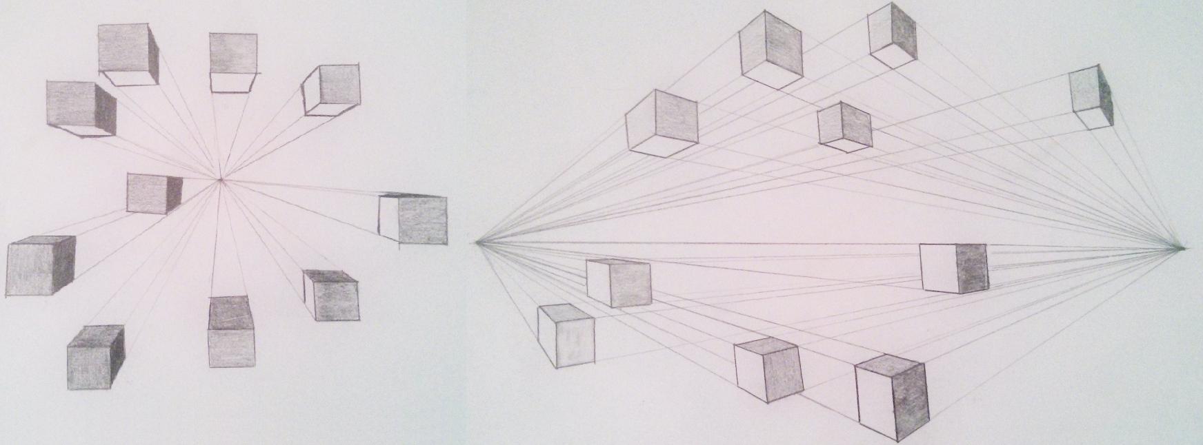 Perspectivas com um e com dois pontos de fuga (desculpe a tosquice, os desenhos tem mais de 10 anos)