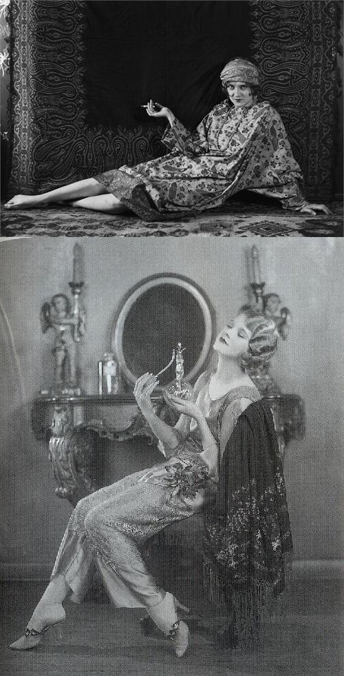 """Exemplos de roupas do início do século XX que tem influência de uma visão do """"Oriente"""" como origem de exotismo."""