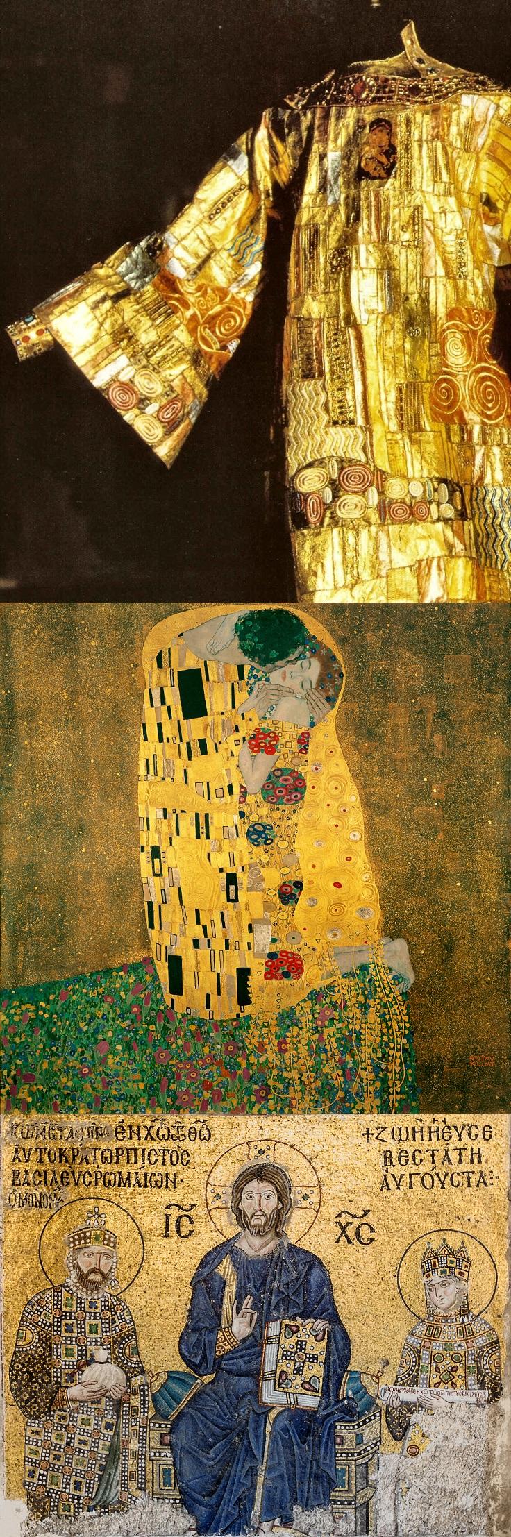 Túnica de Drácula; O Beijo, de Gustav Klimt; e mosaico da Basílica de Santa Sofia, em Istambul.