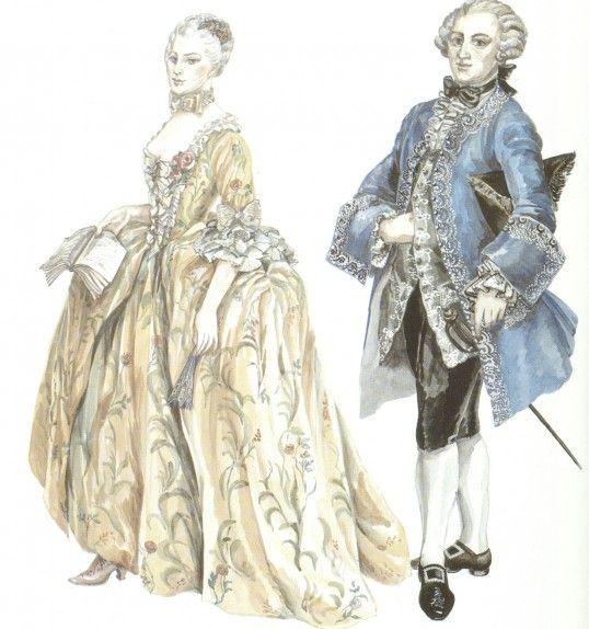 Ilustração que retrata a moda no período Rococó.