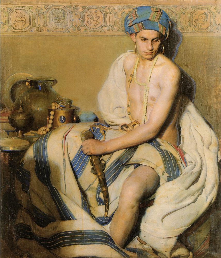 Um oriental de turbante, pintura sem data de Gabriel Morcillo.