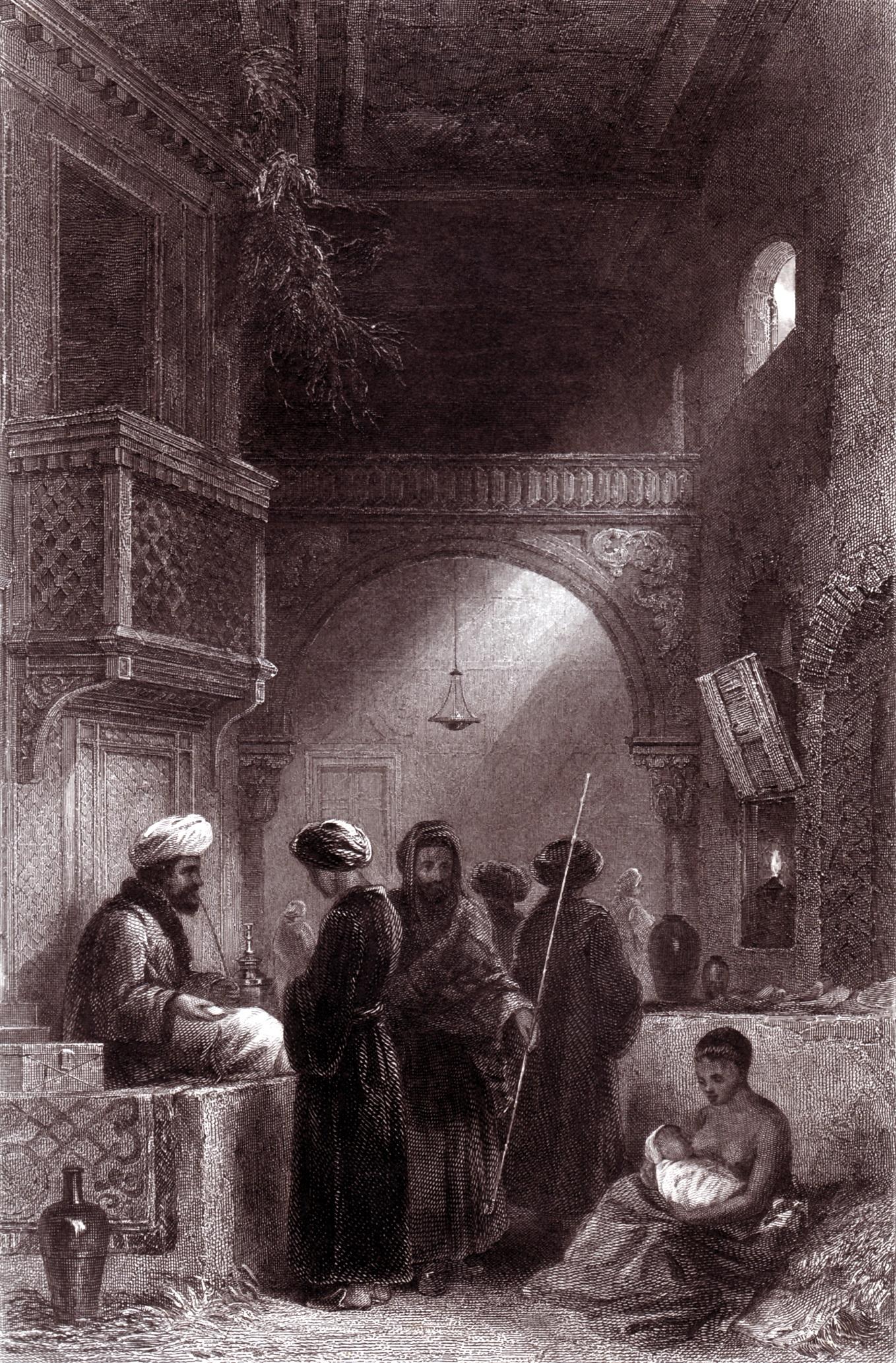 Gravura intitulada O vendedor de ópio, de autor e data desconhecidos.