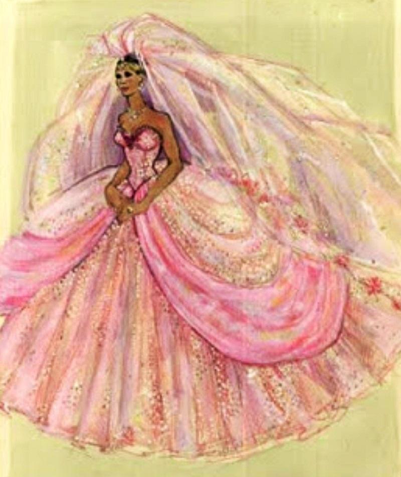 Esboço do vestido de noiva de Lisa.