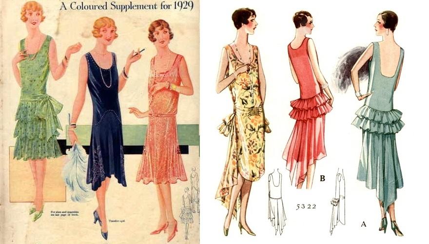 Ilustrações que retratam a moda da época.