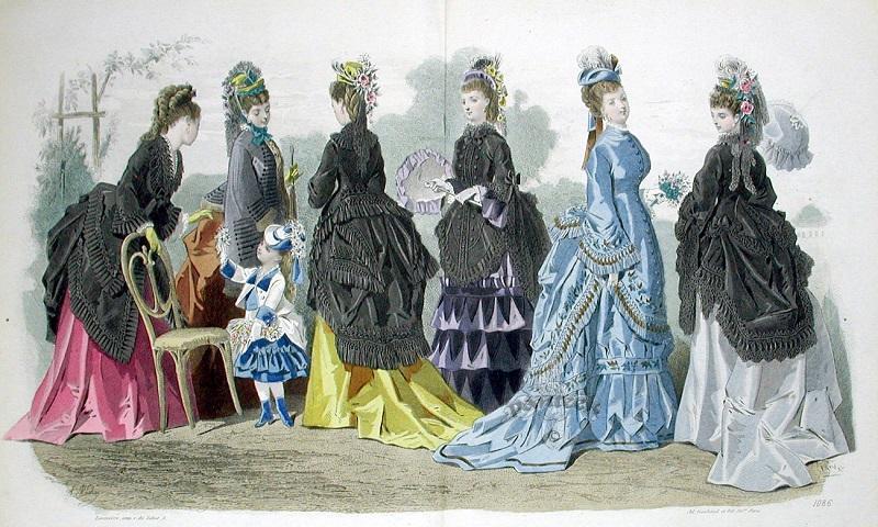 Exemplo da moda da década de 1870.