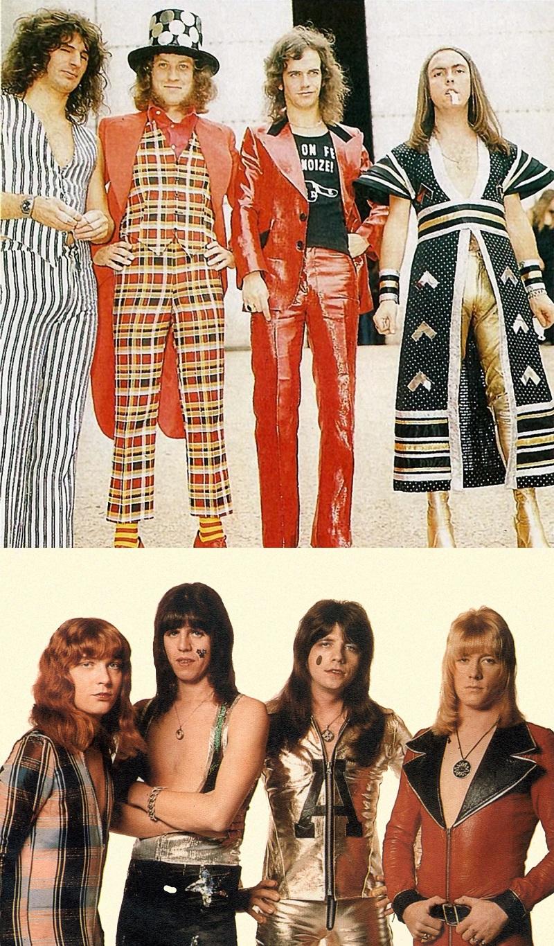 Em cima, a banda Slade em data não determinada e embaixo a banda Sweet em 1973.