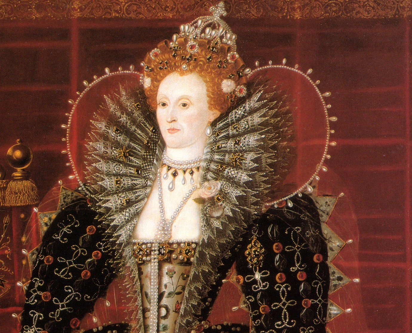 Retrato da Rainha Elizabeth I da Inglaterra, no final do século XVI.
